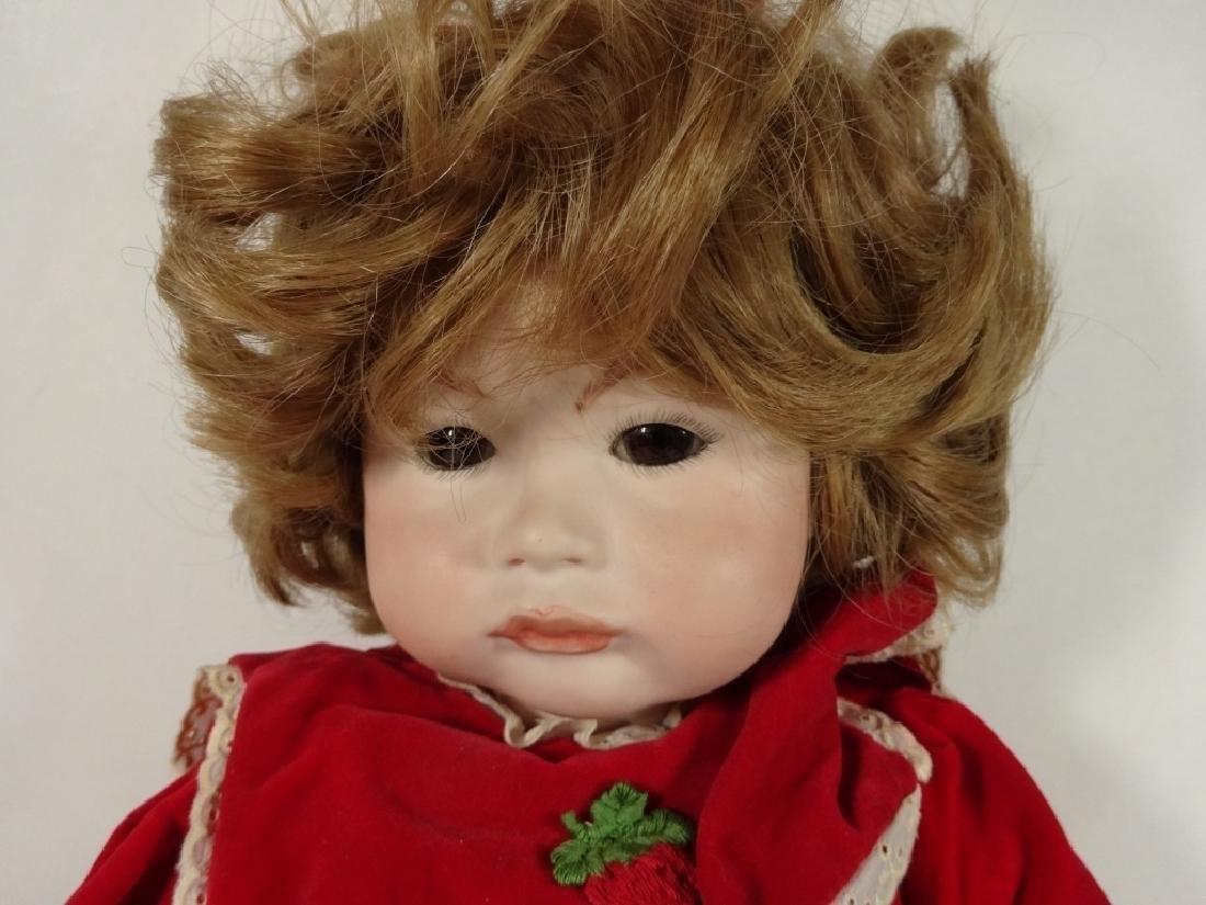 LARGE PORCELAIN DOLL IN RED DRESS, MARKED SFBJ 252 - 2