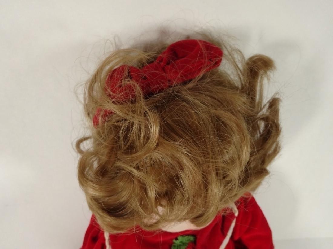 LARGE PORCELAIN DOLL IN RED DRESS, MARKED SFBJ 252 - 3