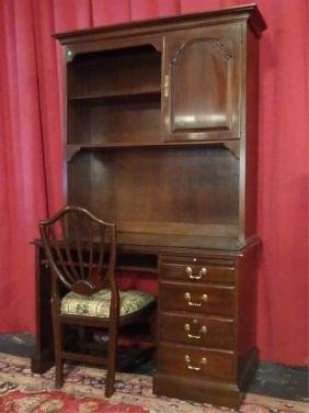 3 PC ETHAN ALLEN DESK WITH HUTCH TOP AND CHAIR, SLIDE