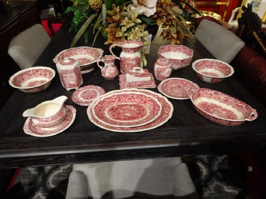 15 PC VINTAGE MASON'S VISTA IRONSTONE, RED / PINK, MADE