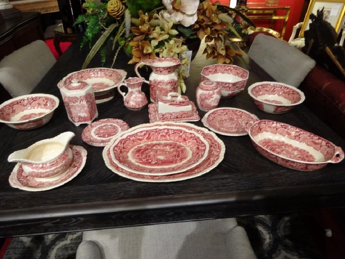 15 PC VINTAGE MASON'S VISTA IRONSTONE, RED / PINK, MADE - 2