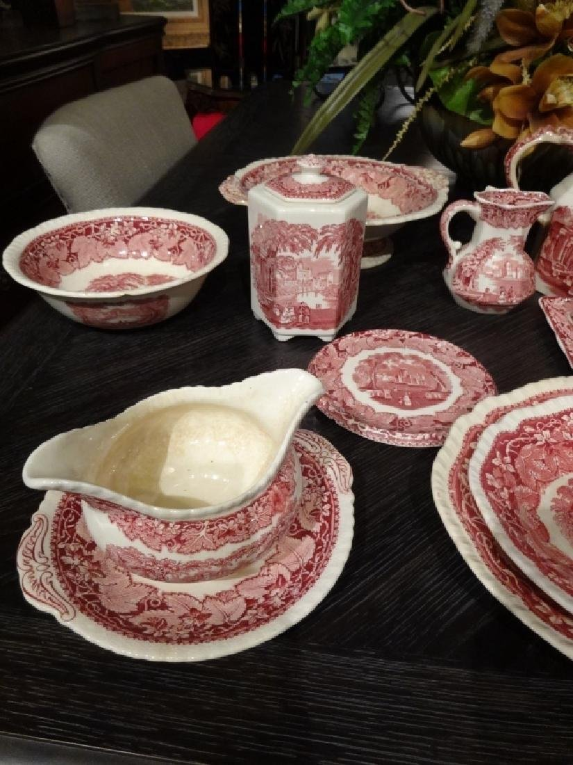 15 PC VINTAGE MASON'S VISTA IRONSTONE, RED / PINK, MADE - 3