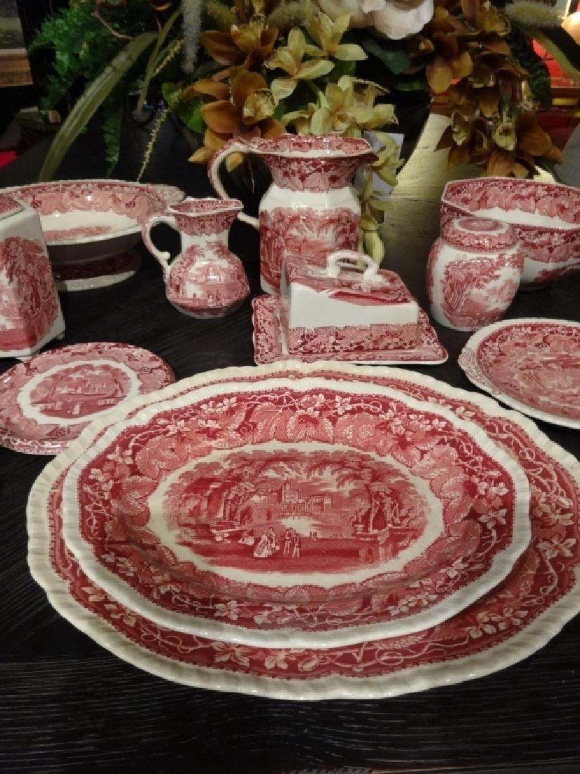 15 PC VINTAGE MASON'S VISTA IRONSTONE, RED / PINK, MADE - 4
