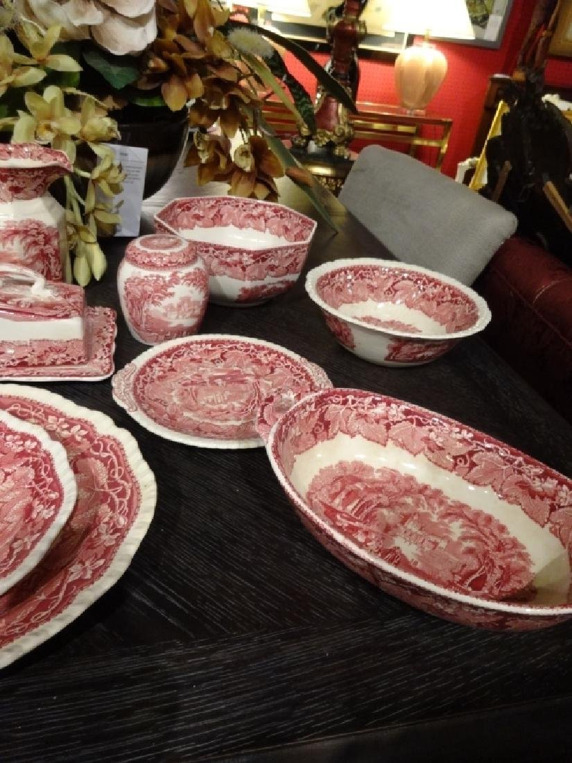 15 PC VINTAGE MASON'S VISTA IRONSTONE, RED / PINK, MADE - 5