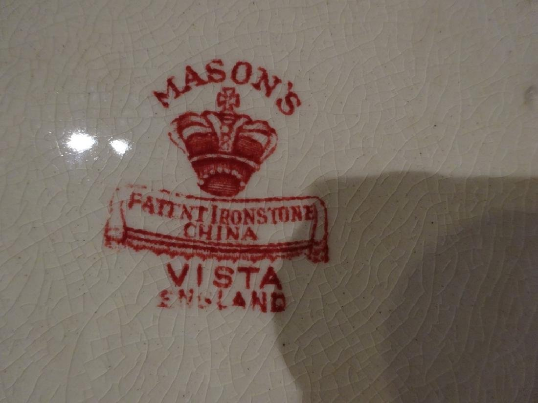 15 PC VINTAGE MASON'S VISTA IRONSTONE, RED / PINK, MADE - 8