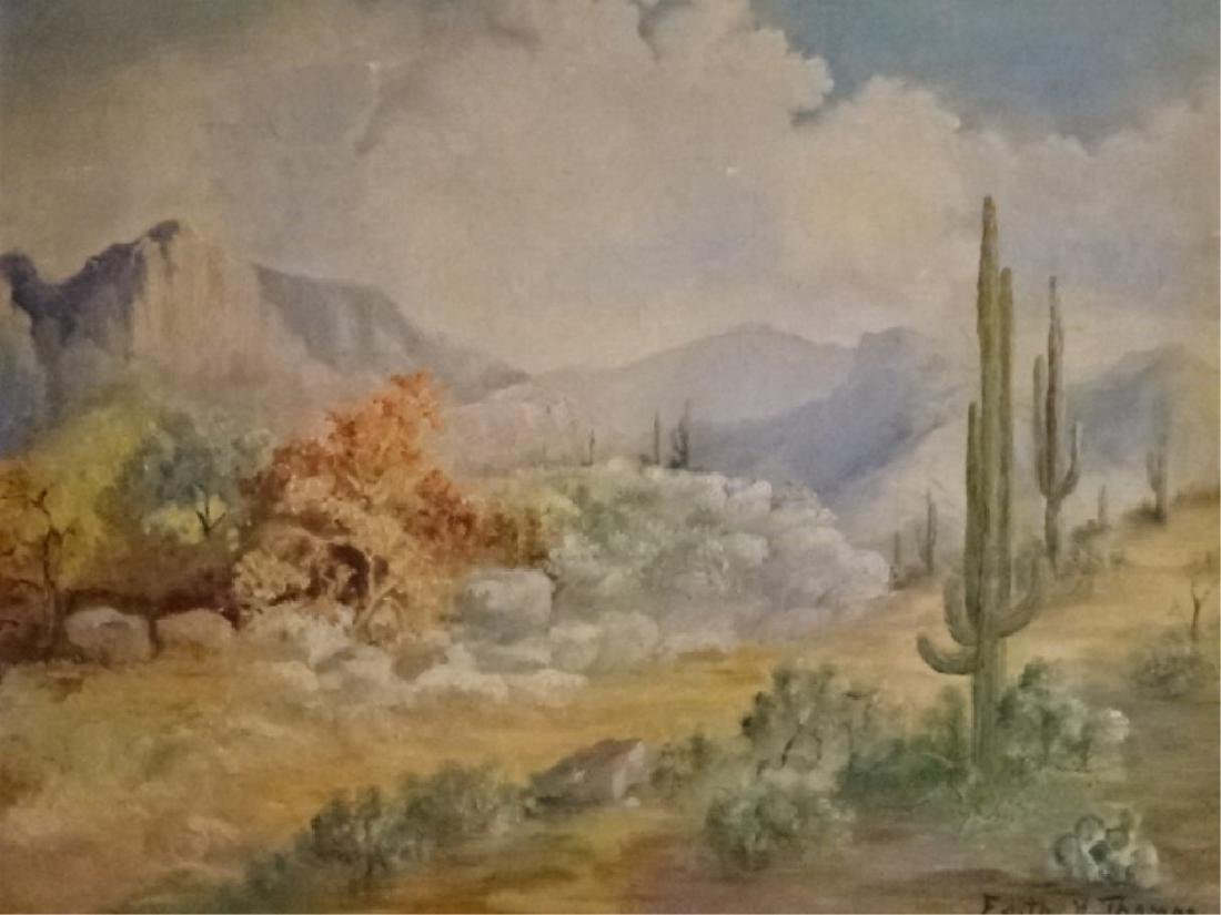 EDITH H THOMAS SIGNED PAINTING ON CANVAS, DESERT - 10