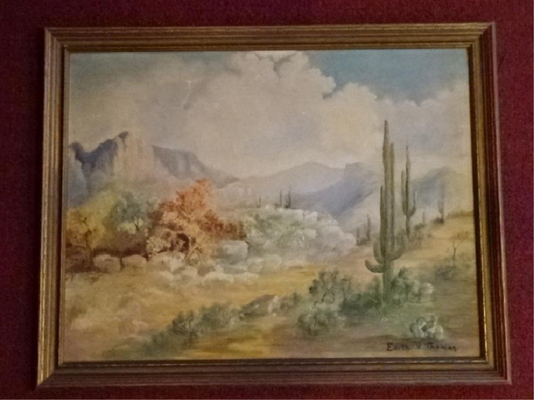 EDITH H THOMAS SIGNED PAINTING ON CANVAS, DESERT