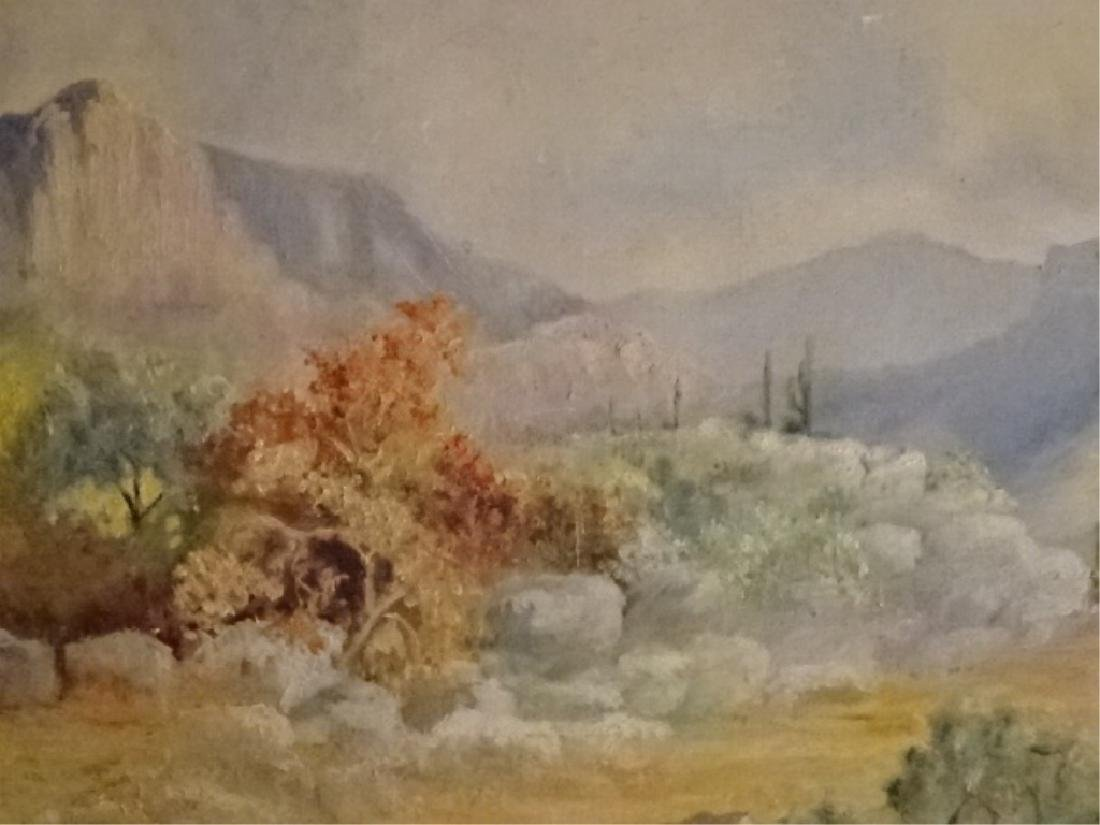 EDITH H THOMAS SIGNED PAINTING ON CANVAS, DESERT - 2