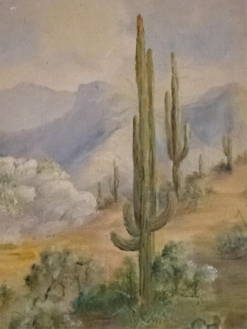 EDITH H THOMAS SIGNED PAINTING ON CANVAS, DESERT - 3