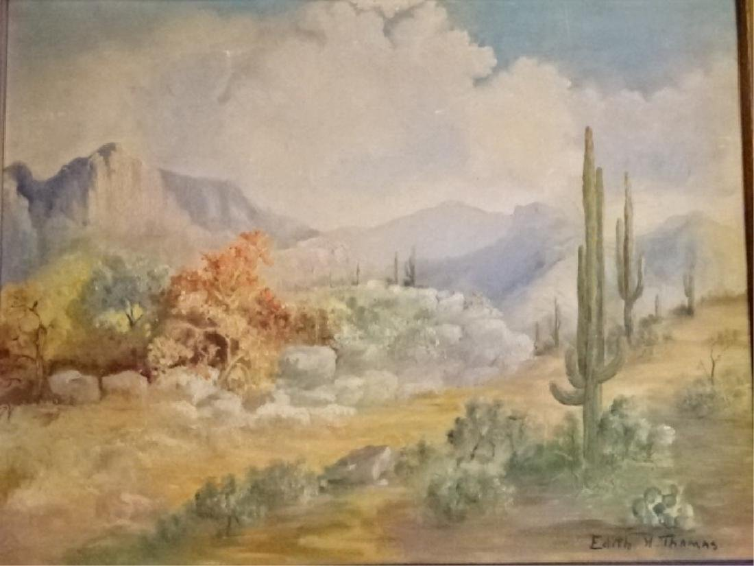 EDITH H THOMAS SIGNED PAINTING ON CANVAS, DESERT - 8