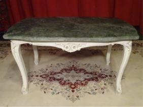 LOUIS XV STYLE MARBLE TOP TABLE, WHITE PAINTED BASE,