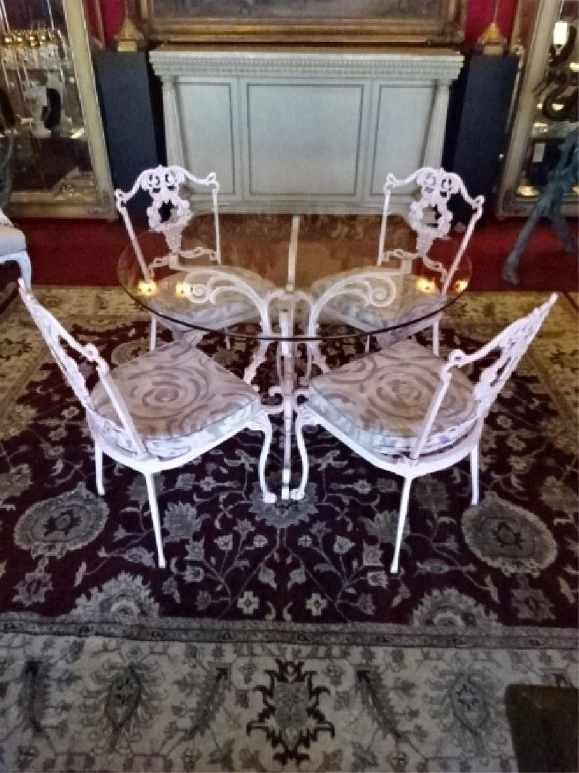 5 PC ORNATE ALUMINUM TABLE AND 4 CHAIRS, ROUND GLASS - 2