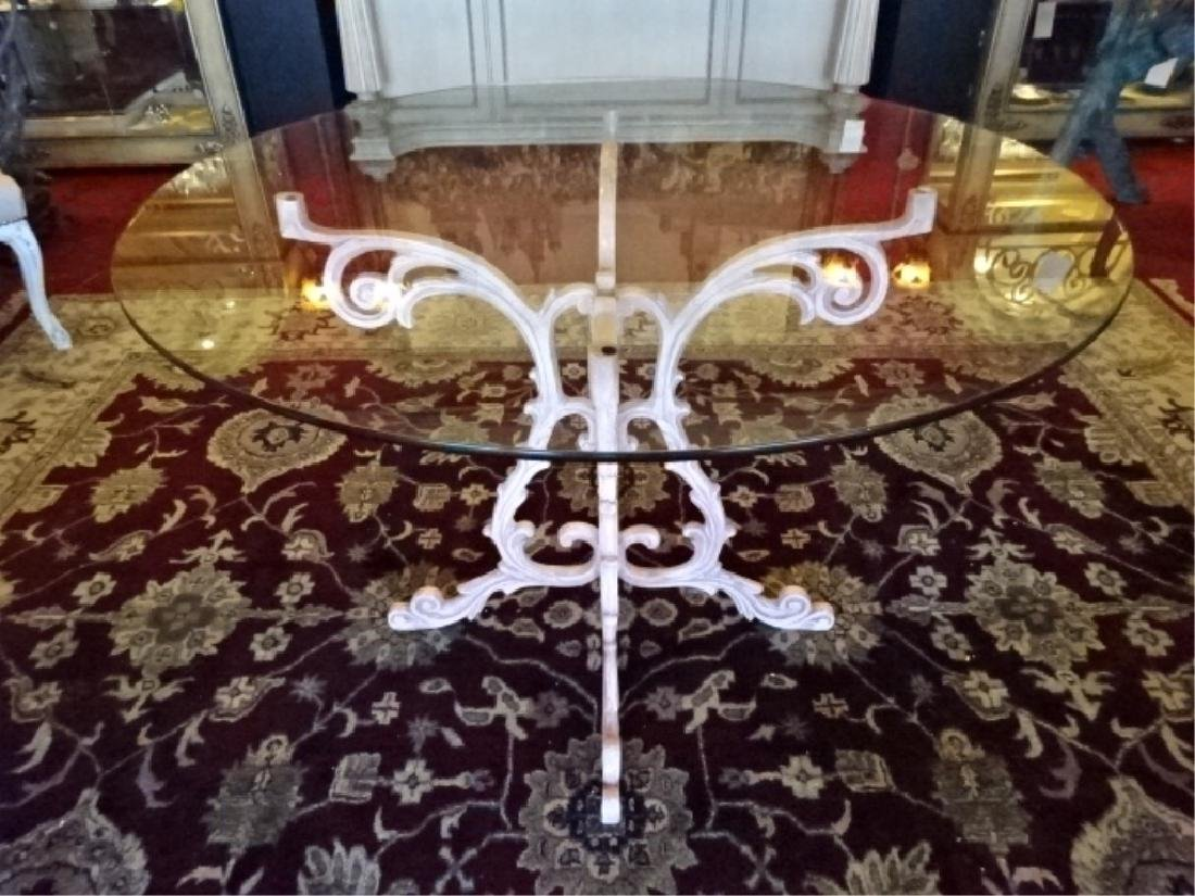 5 PC ORNATE ALUMINUM TABLE AND 4 CHAIRS, ROUND GLASS - 3