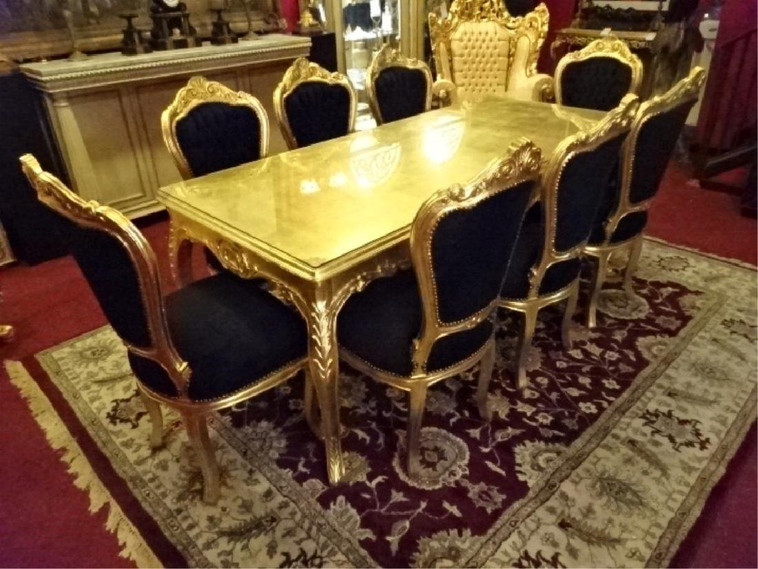 9 PC ROCOCO STYLE GOLD GILT WOOD DINING SET, TABLE AND
