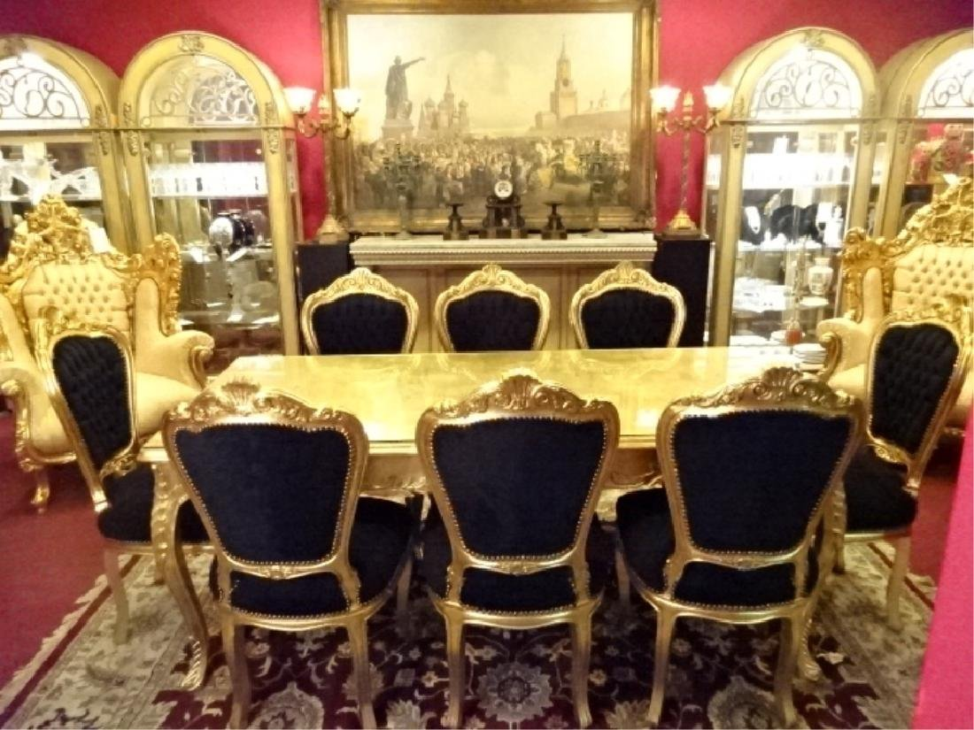 9 PC ROCOCO STYLE GOLD GILT WOOD DINING SET, TABLE AND - 2