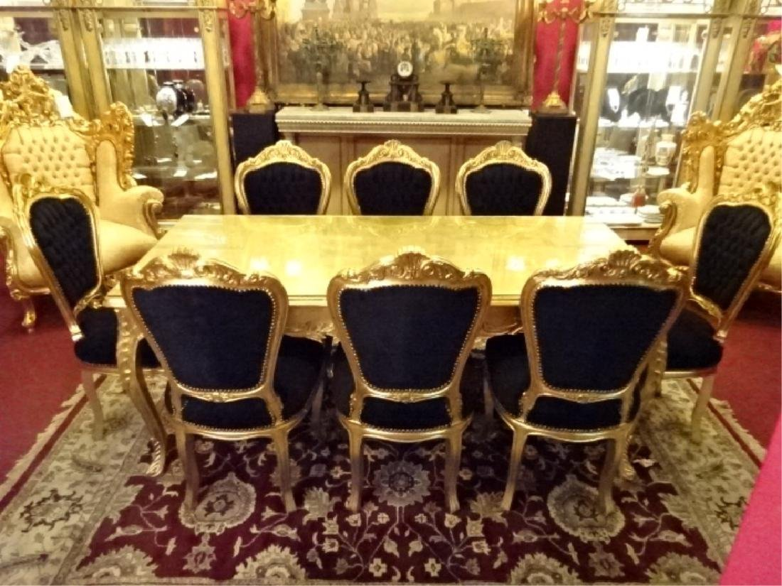 9 PC ROCOCO STYLE GOLD GILT WOOD DINING SET, TABLE AND - 3