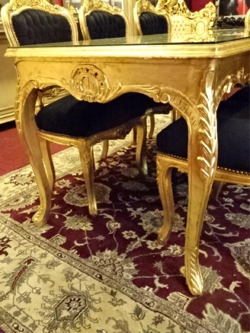 9 PC ROCOCO STYLE GOLD GILT WOOD DINING SET, TABLE AND - 4