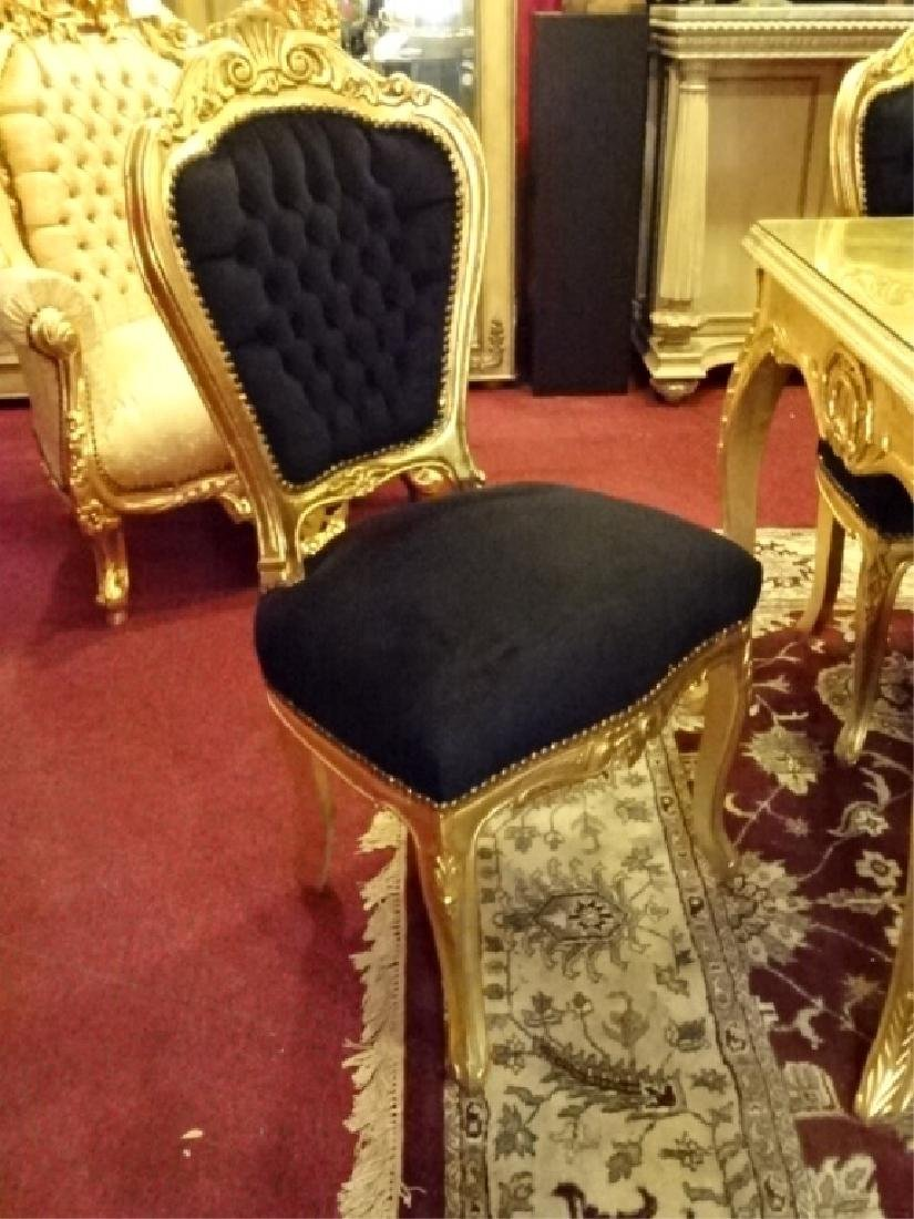 9 PC ROCOCO STYLE GOLD GILT WOOD DINING SET, TABLE AND - 6