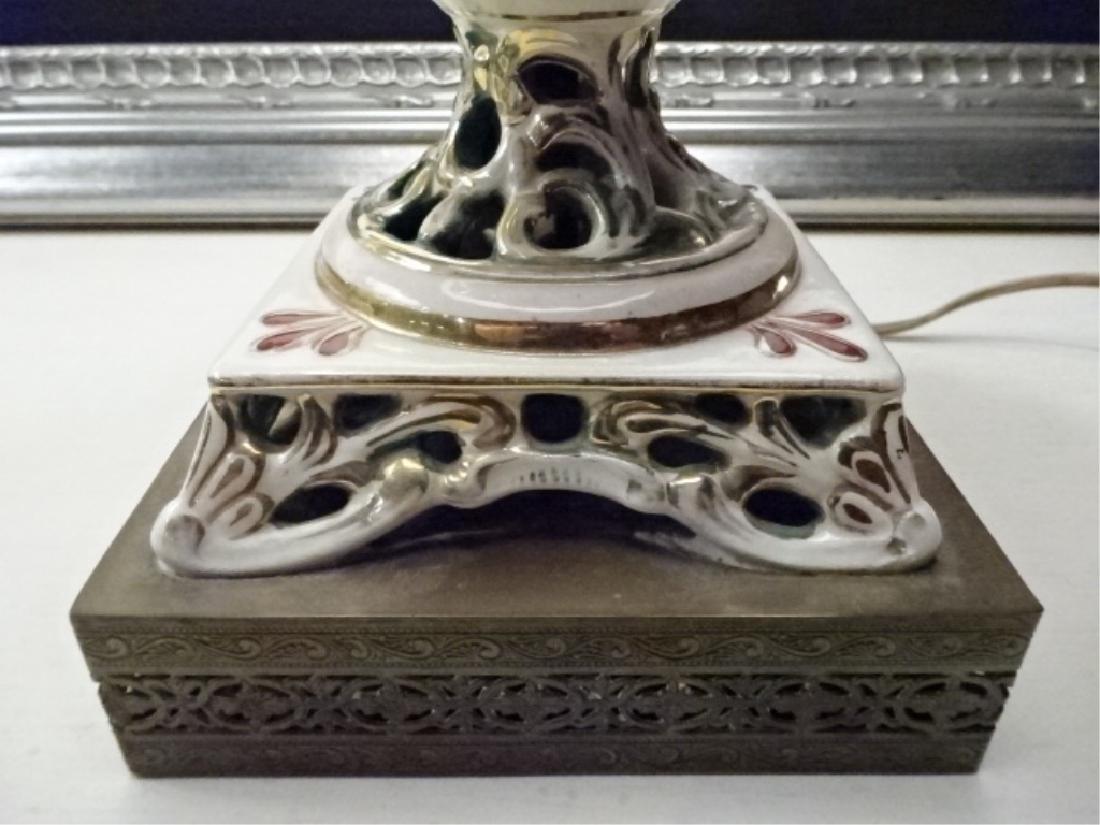 PAIR VINTAGE ITALIAN CAPODIMONTE LAMPS, BLACK SHADES, - 10