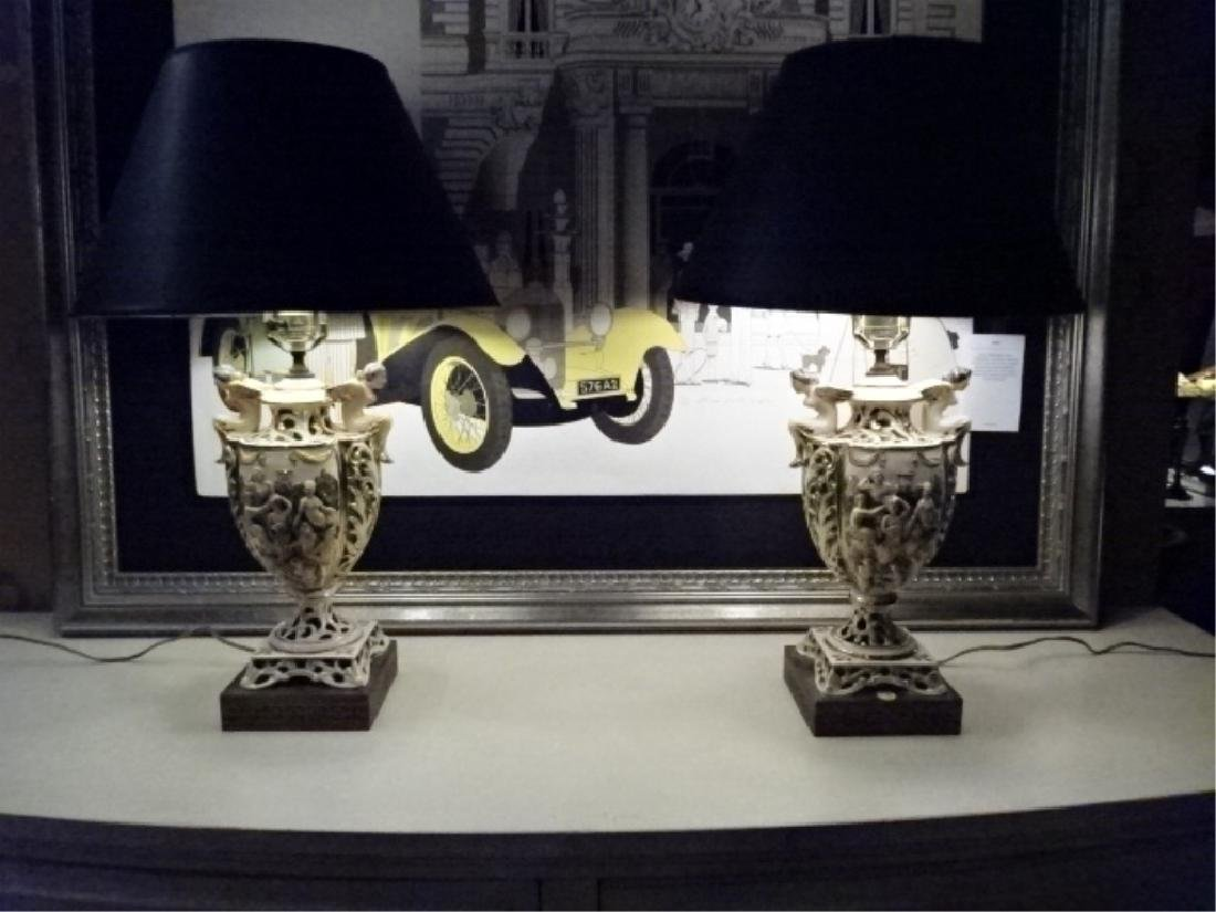PAIR VINTAGE ITALIAN CAPODIMONTE LAMPS, BLACK SHADES,