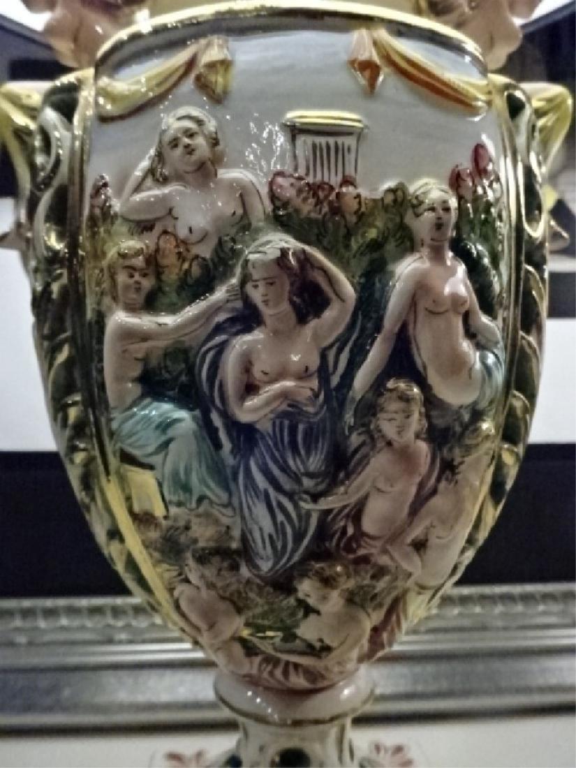 PAIR VINTAGE ITALIAN CAPODIMONTE LAMPS, BLACK SHADES, - 2