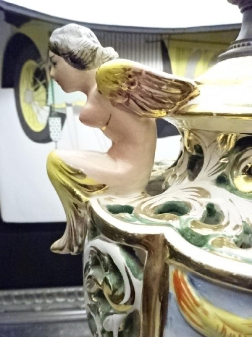 PAIR VINTAGE ITALIAN CAPODIMONTE LAMPS, BLACK SHADES, - 3