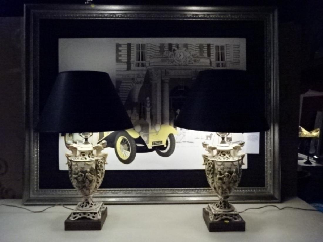PAIR VINTAGE ITALIAN CAPODIMONTE LAMPS, BLACK SHADES, - 5