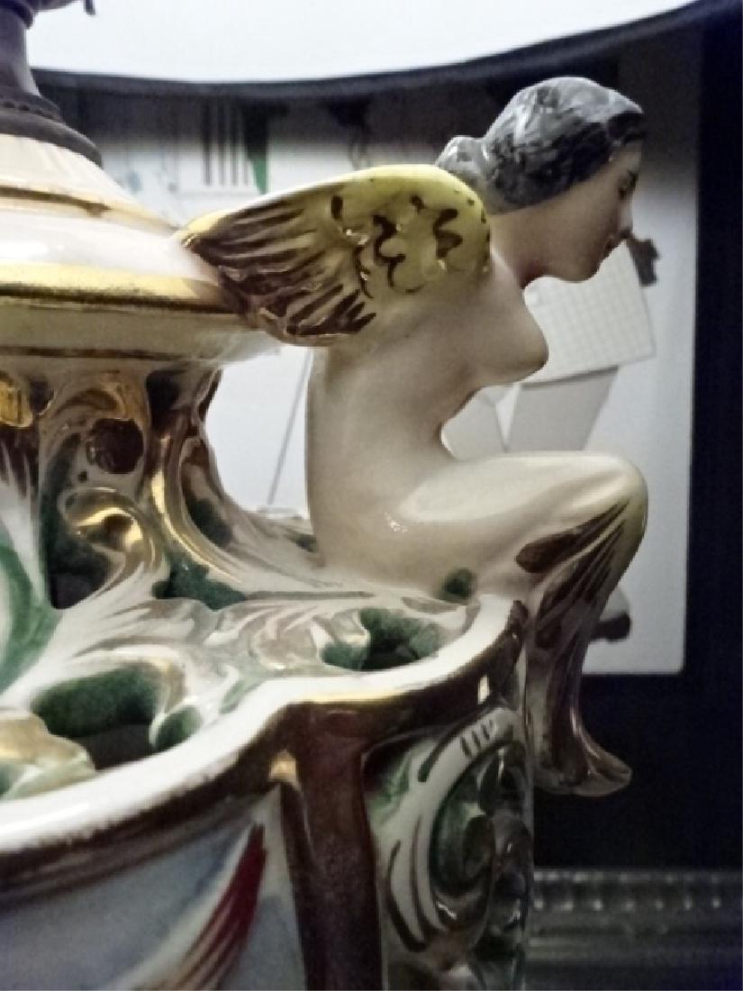 PAIR VINTAGE ITALIAN CAPODIMONTE LAMPS, BLACK SHADES, - 9