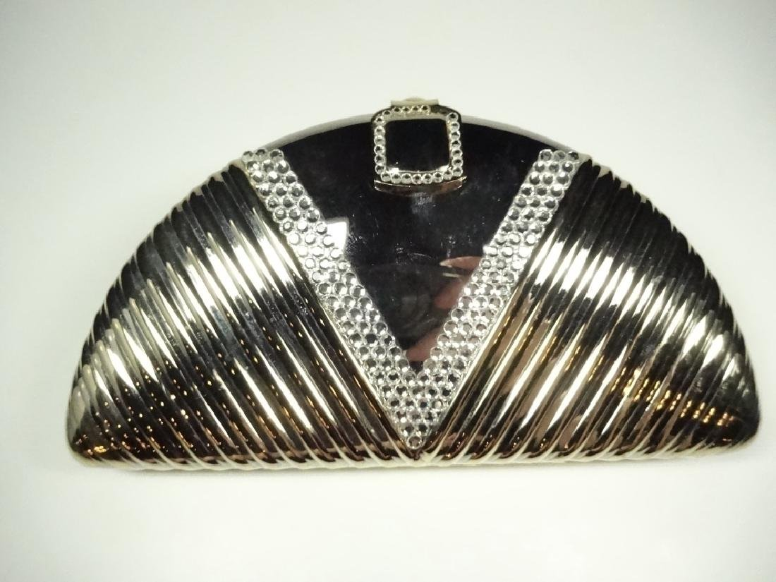 ART DECO STYLE METAL EVENING BAG / PURSE, GOLD & SILVER