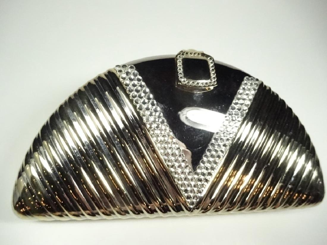 ART DECO STYLE METAL EVENING BAG / PURSE, GOLD & SILVER - 2