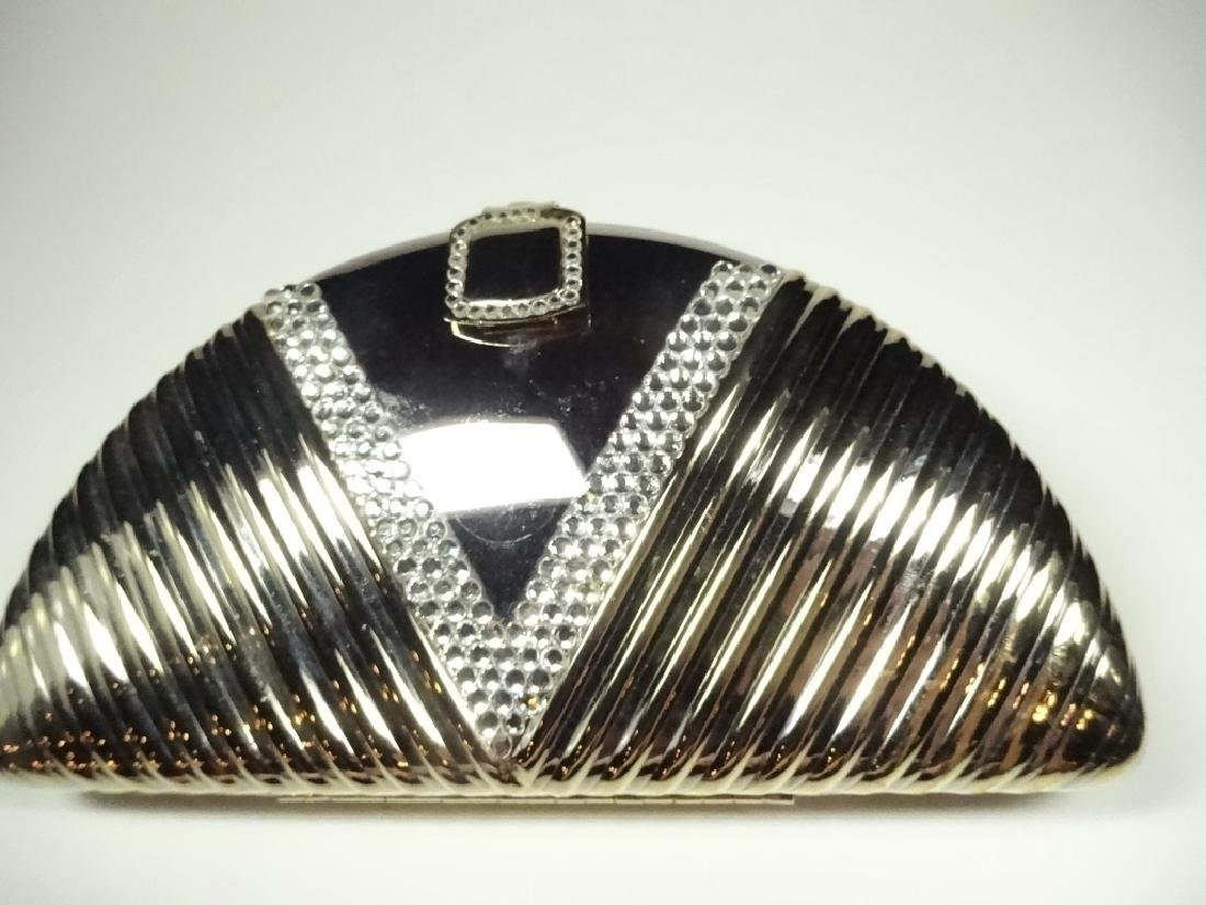ART DECO STYLE METAL EVENING BAG / PURSE, GOLD & SILVER - 3