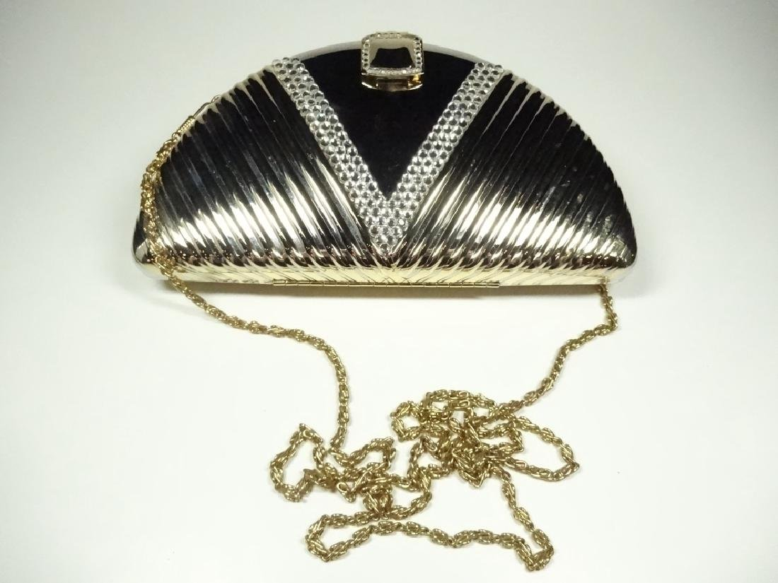 ART DECO STYLE METAL EVENING BAG / PURSE, GOLD & SILVER - 7