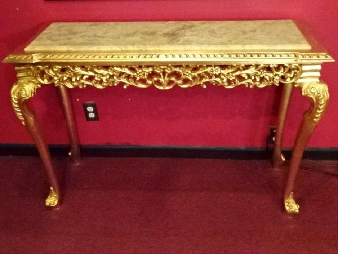 ROCOCO STYLE MARBLE GILT WOOD CONSOLE TABLE, BEVELED