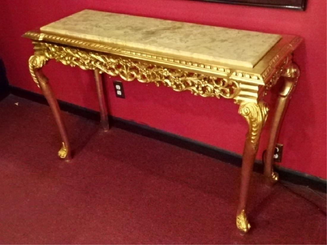 ROCOCO STYLE MARBLE GILT WOOD CONSOLE TABLE, BEVELED - 2