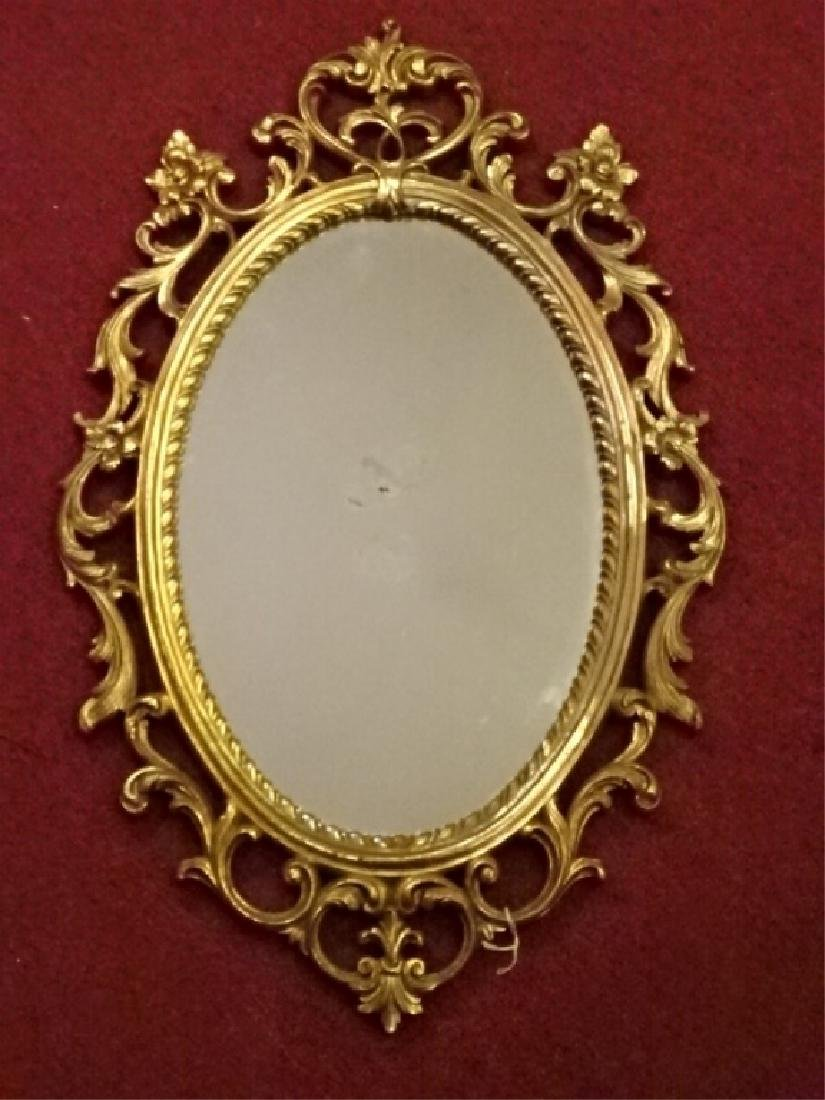 OVAL ROCOCO GILT WOOD MIRROR VERY GOOD CONDITION WITH 2