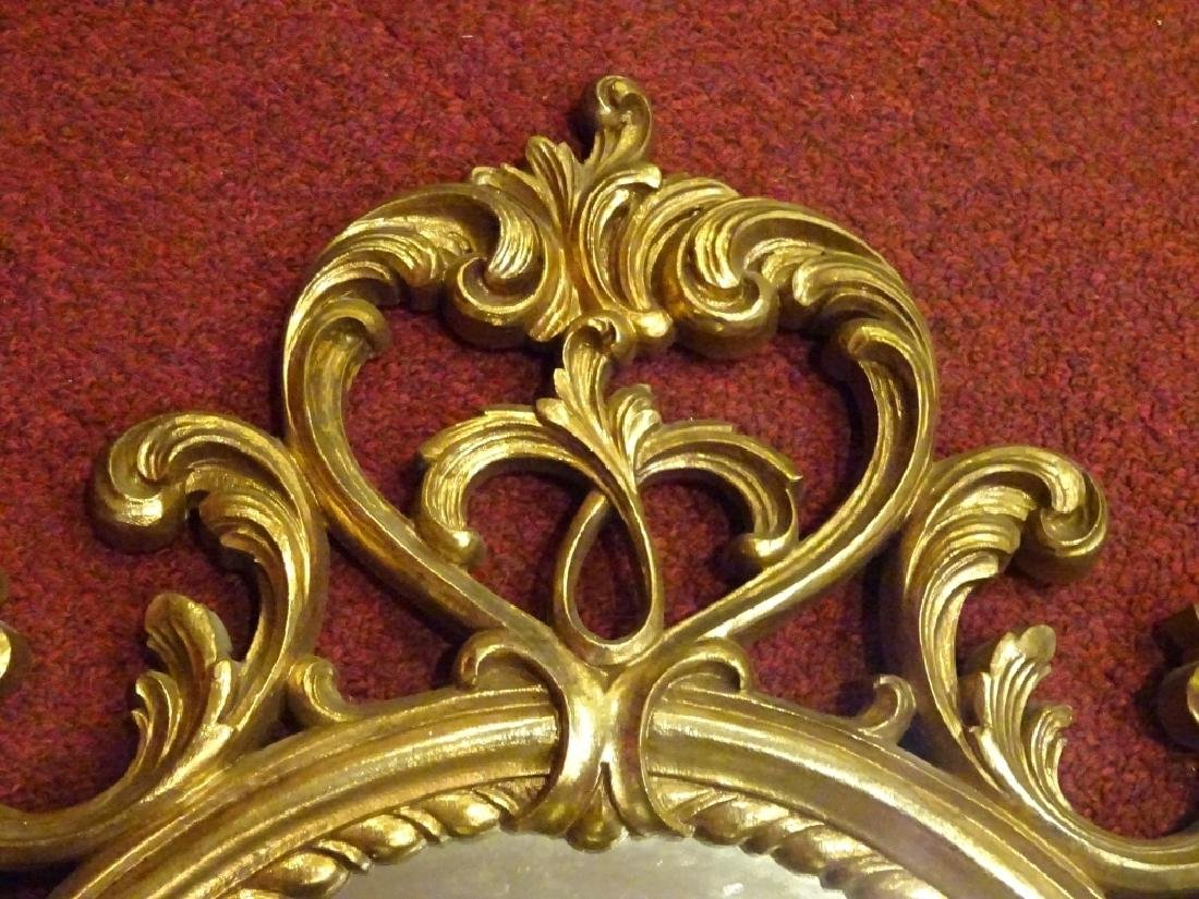 OVAL ROCOCO GILT WOOD MIRROR VERY GOOD CONDITION WITH 2 - 2