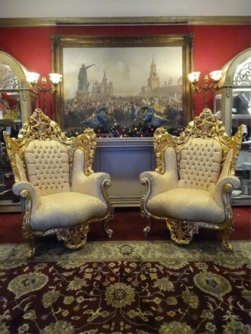 PAIR LOUIS XIV STYLE GOLD GILT THRONE CHAIRS, GOLD