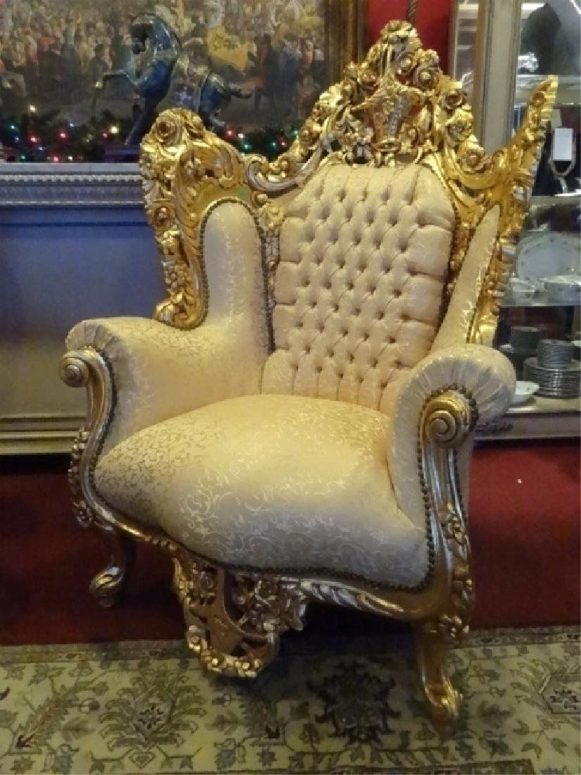 PAIR LOUIS XIV STYLE GOLD GILT THRONE CHAIRS, GOLD - 2