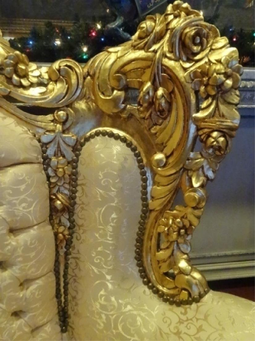 PAIR LOUIS XIV STYLE GOLD GILT THRONE CHAIRS, GOLD - 4