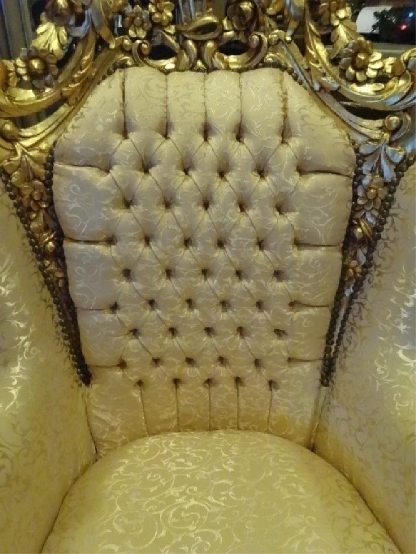 PAIR LOUIS XIV STYLE GOLD GILT THRONE CHAIRS, GOLD - 5