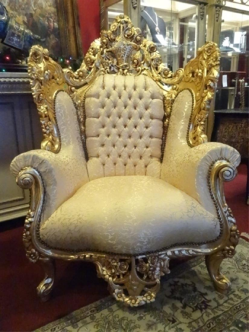 PAIR LOUIS XIV STYLE GOLD GILT THRONE CHAIRS, GOLD - 7