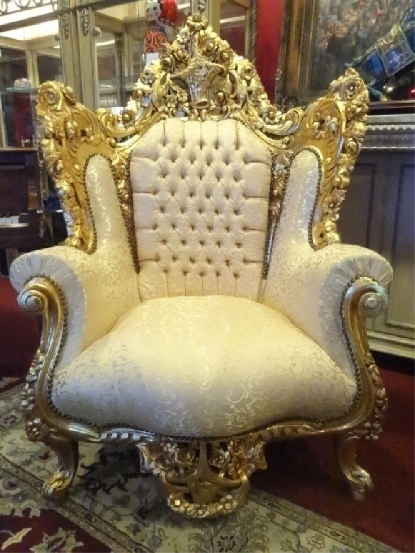 PAIR LOUIS XIV STYLE GOLD GILT THRONE CHAIRS, GOLD - 8