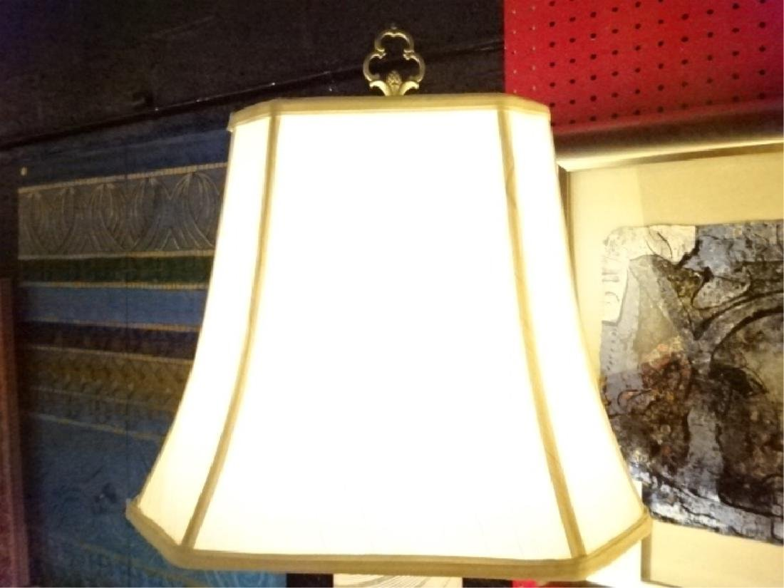 GLASS AND BRASS TABLE LAMP, VENETIAN STYLE SWIRL GLASS - 3