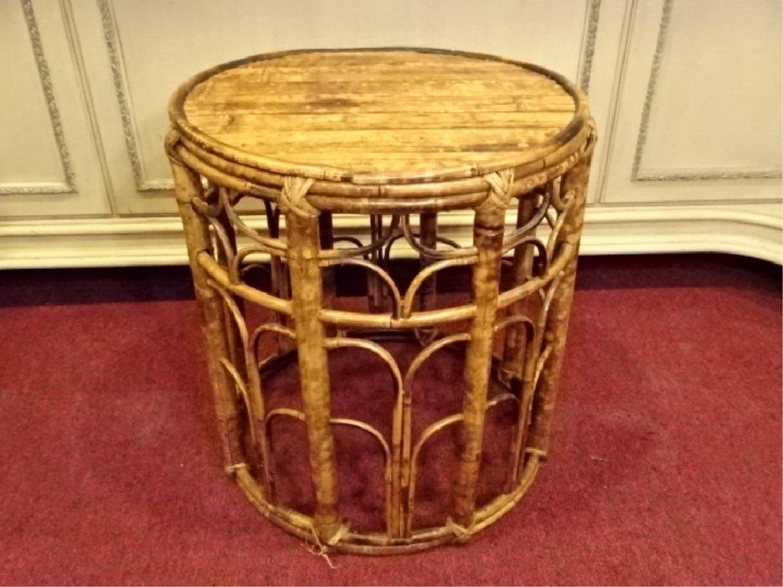 VINTAGE ROUND RATTAN AND WOOD TABLE, GOOD CONDITION