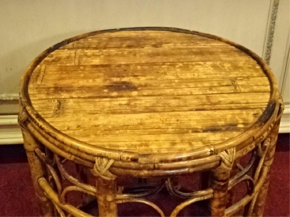 VINTAGE ROUND RATTAN AND WOOD TABLE, GOOD CONDITION - 2