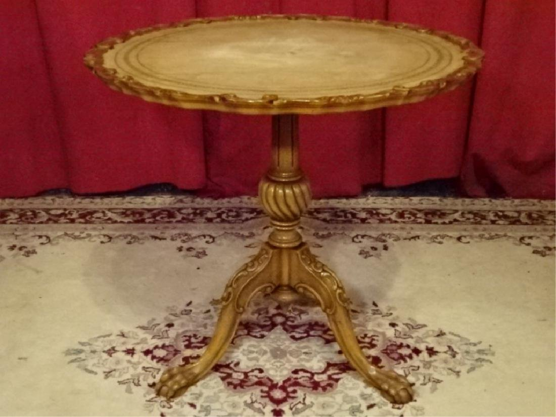 VINTAGE TILT TOP PEDESTAL TABLE, LEATHER TOP WITH