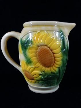 FRENCH CERAMIC PITCHER, SUNFLOWER DESIGNS, MARKED LA