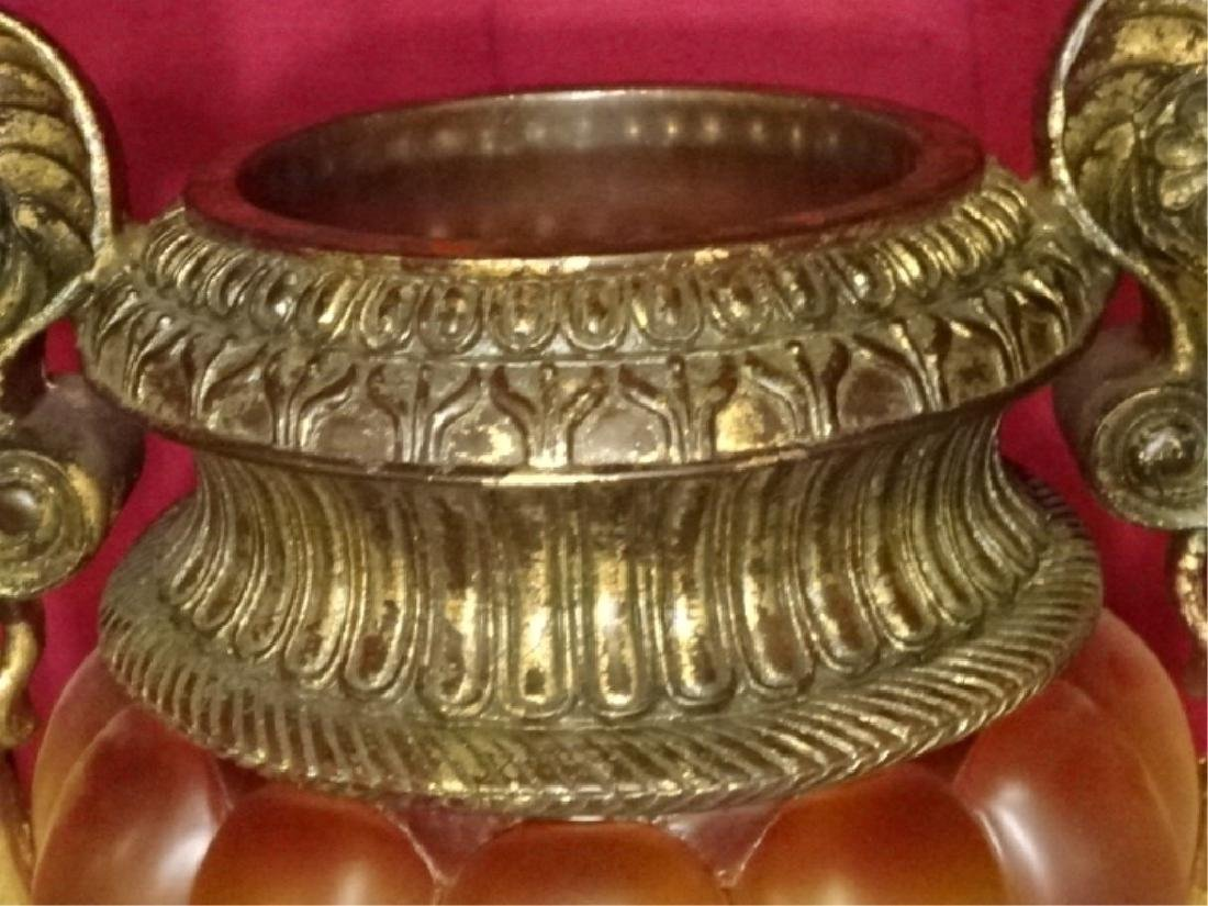 LARGE DECORATIVE URN, GOLD FINISH COMPOSITE WITH - 5