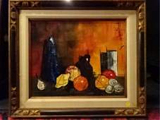 MODERNIST STILL LIFE OIL ON CANVAS PAINTING SIGNED