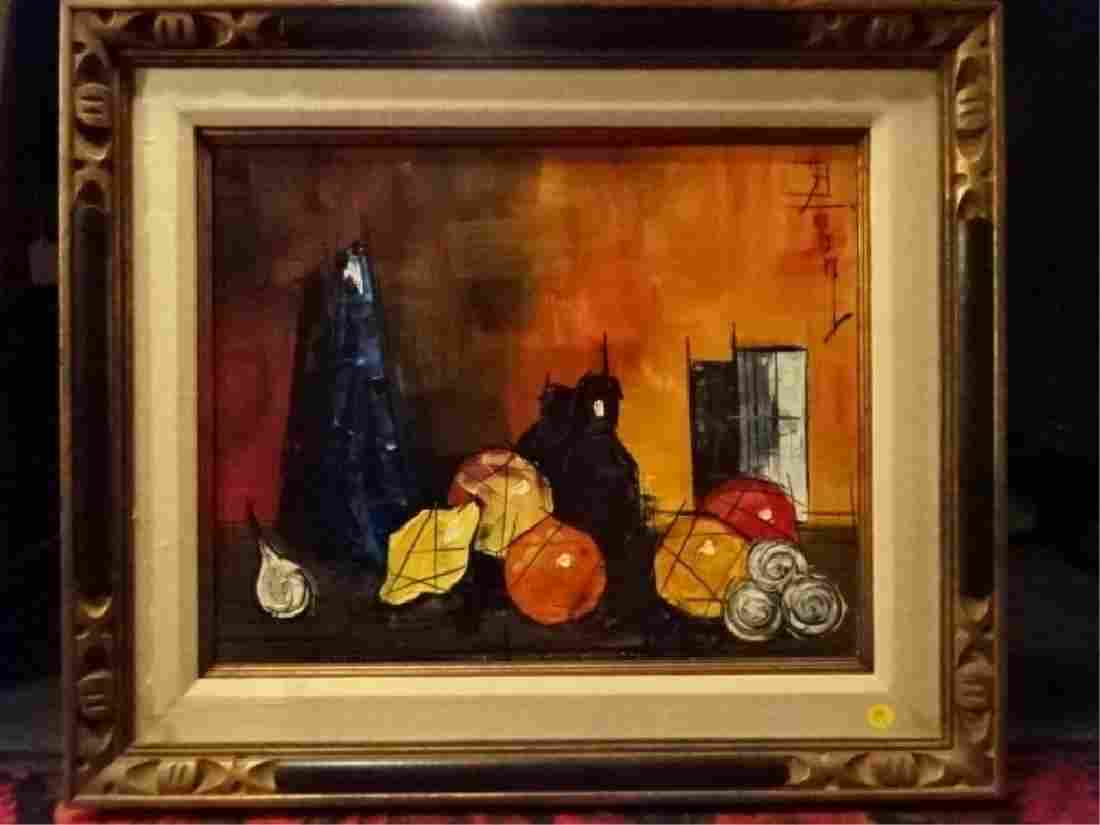 MODERNIST STILL LIFE OIL ON CANVAS PAINTING, SIGNED